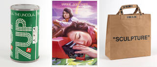 """7up branded radio, 'Study and love' poster, and """"Sculpture"""" carrier bag"""