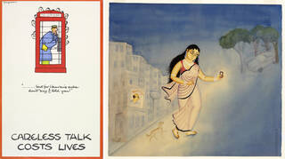 """'Careless talk costs lives', poster, designed by Cyril Kenneth Bird (""""Fougasse""""). 'Abhisarika', Kalighat painting by Kalam Patua"""