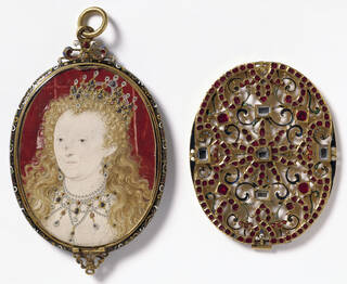 Portrait miniature painting of Elizabeth I painted on red background wearing jewelled tiara and necklace and displayed in gold box with heavily jewelled lid.