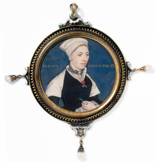 small painted portrait of a woman on a mid-blue background wearing a white cloth hat, white shawl and black dress. Surrounded by gold twisted frame with drop pearls.