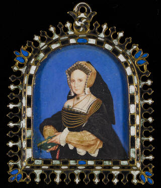 Painted portrait of a woman on a mid-blue background, wearing black headdress and gown with gold detail and clutching a book, surrounded by gold frame decorated in blue, white and black.
