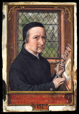 Portrait miniature painting of a man wearing a black cap hat and black robes, holding a pair of spectacles in front of a stand with a page on it.