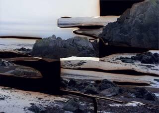 Large format C-type handprint in a landscape format, framed and unglazed. Shows rocks/rugged landscape and sky