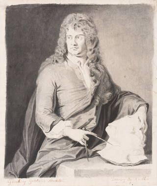Black and white drawing of a man facing to the right wearing a long curly wig, holding a block of unworked wood and measuring tool