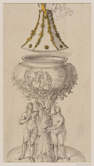 Black and white drawing of an elaborate font with figures at the base and a gold cover