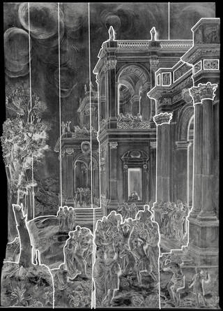 Black and white photograph of the Stoning of St Stephen carved wooden panel showing the construction of the panels