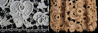 Composite image of a detail of white lace on the left and a carved wooden lace design on the right. Both on black backgrounds