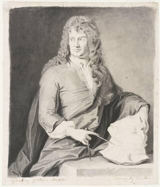 drawing of a man in a long curly wig sat at a table