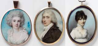 Three portrait miniatures in oval gold frames featuring two women and a man against pale blue backgrounds