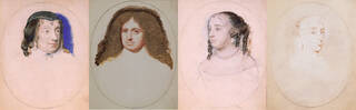 Four pale portrait miniatures on pale pink or yellowing backgrounds. All unfinished. Three women and one man wearing a long, curly, brown wig.