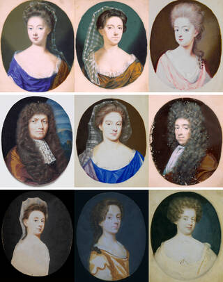 Grid of nine portrait miniatures depicting men and women in oval frames in hues of blue, yellow, cream, yellow and pink.