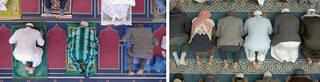 Two birds-eye-view photographs of men praying on prayer mats