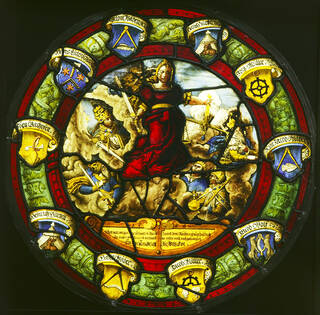 Panel with the figure of Justice with sword and scales.
