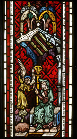 Stained glass panel showing the Annunciation to St Anne from the pilgrimage church of Maria Strassengel