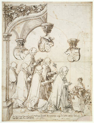 Drawing in pen and ink and red chalk showing a group of six nuns kneeling under a Gothic canopy.