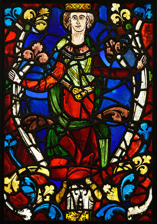 Stained-glass panel showing a King from a Tree of Jesse window