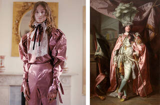 Model shot of Harris Reed pink historical ensemble next to portrait of Charles Coote, 1st Earl of Bellamont, wearing pink silk