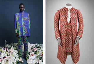 Model shot of colourful shirt and trousers by Orange Culture next to historical men's fashion waistcoat and breeches from the V&A collection.