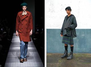 Catwalk shot of model wearing Gucci trench-coat next to photograph of model wearing Nicholas Daley kilt.