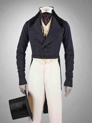 19th century wool coat and trousers with silk top hat on mannequin