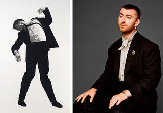 Drawing of man in a suit next to a photograph os Sam Smith wearing a suit